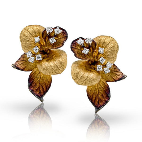 Organic Satin Leaf Design Earrings with Floating Diamonds in 18k by Simon G.