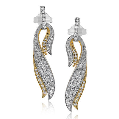 Two-Toned Draping Pave Diamond Earrings from Simon G.