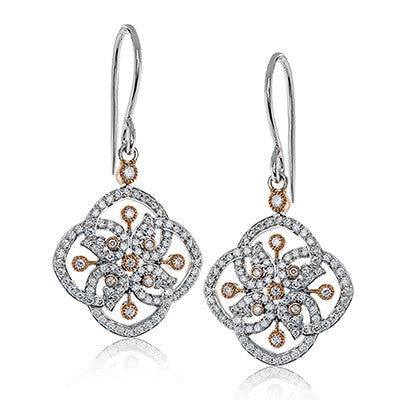 "Lovely ""Diamond Clover"" Earrings in Rose and White Gold from Simon G."