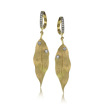 Diamond Leaf Dangle Earrings by Simon G