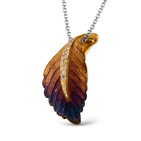 18k Yellow Gold and Diamond Leaf Pendant from Simon G.