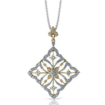"""Snowflake"" Pendant in 18k White and Yellow Gold by Simon G."