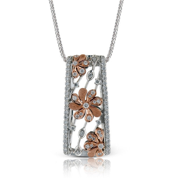 Rose Gold Diamond Flower Pendant designed by Simon G.