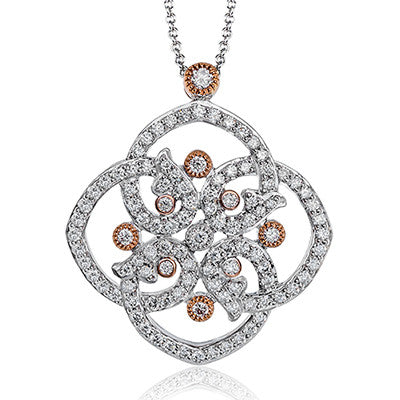 Delicate 18k White and Rose Gold Filigree Diamond Pendant by Simon G.