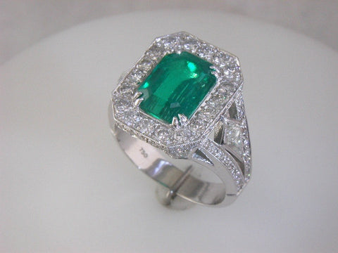 Magnificent Custom Emerald and Diamond Ring by Teels Jewelry