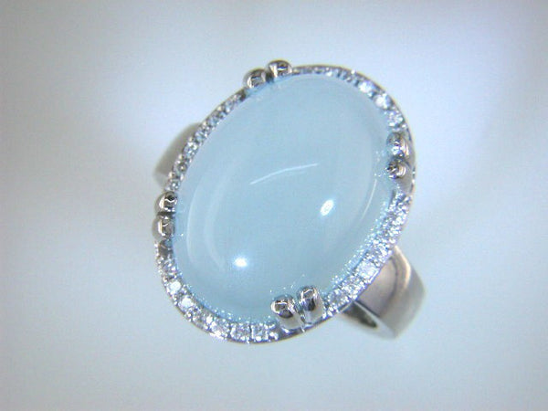 Amazing Cabochon Aquamarine and Diamond Custom Ring by Teels Jewelry