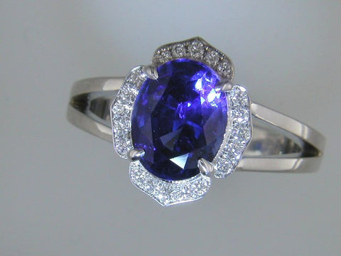 Absolutely Regal Custom Sapphire and Pave Diamond Ring by Teels Jewelry