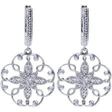 Graceful 14k White Gold Fine Filigree Diamond Earrings by Gabriel & Co