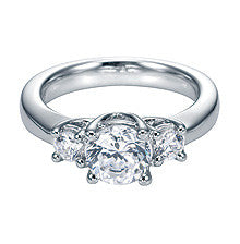 Classic 14k White Gold Three Stone Diamond Engagement Ring by Gabriel & Co