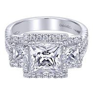 Three Stone  Princess Cut Pave Halo Ring by Gabriel & Co.