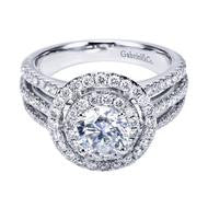 Double Halo Triple Shank Pave Engagement Ring by Gabriel & Co.