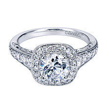 14k White Gold Cushion Shaped Pave Halo Engagement Ring by Gabriel & Co