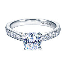 A Stylish 14k White Gold Pave and Milgrain Diamond Engagement Ring by Gabriel & Co