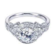 Victorian Inspired Cushion Halo Engagement Ring by Gabriel & Co.