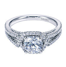 "14k White Gold ""Crossover"" Design Pave Diamond Engagement Ring by Gabriel & Co"