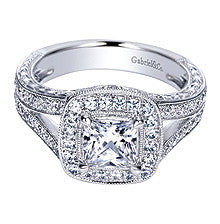Impressive 14k White Gold Cushion Halo Split Shank Diamond Engagement Ring by Gabriel & Co