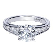 14k White Gold Tapering Channel Set Diamond Engagment Ring by Gabriel & Co