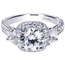 Spectacular 14k White Gold Engagement Ring with a Cushion Halo and Half Moon Diamond Sides by Gabriel and Co