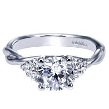 "14k White Gold ""Twisted"" Band Diamond Engagement Ring by Gabriel & Co"