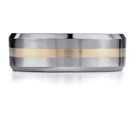 Stylish Tungsten Mens Band with Yellow Gold Inlay by Benchmark