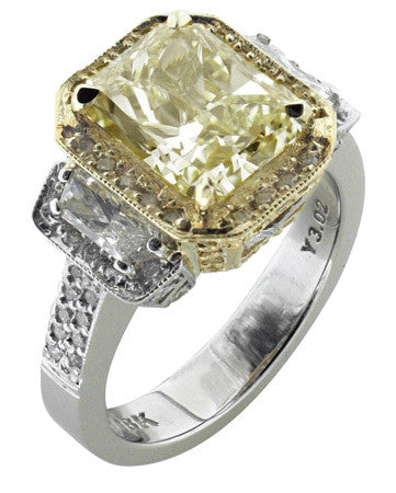 Amazing 3.02ct Canary Fancy Yellow Diamond Ring featured by Teels Jewelry