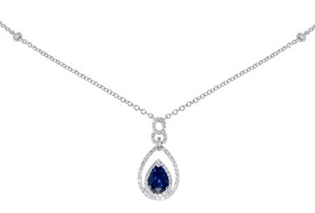 Royal Blue Pear Shape Sapphire and Pave Diamond Drop Pendant by Gregg Ruth