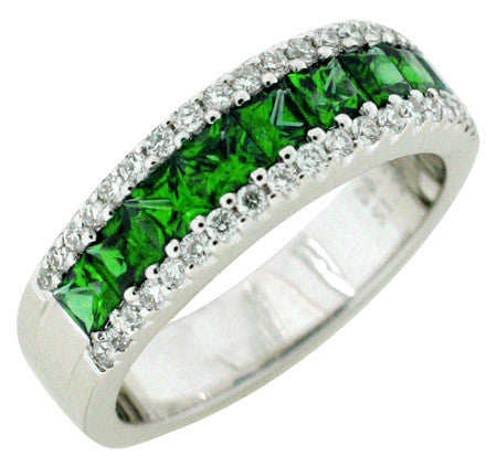 Princess Cut Emerald and Pave Diamond Band set in 18 K white gold
