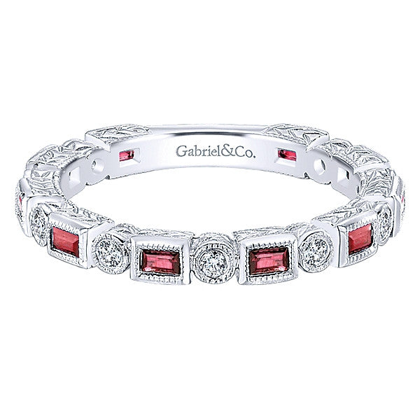 Diamond and Ruby Stacking Ring by Gabriel & Co.