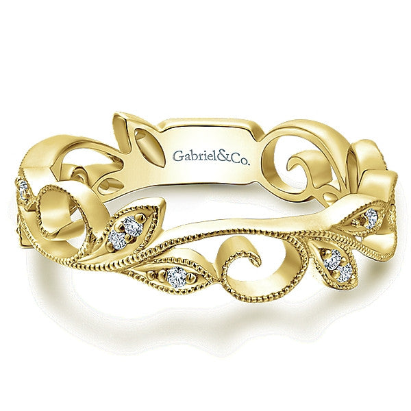 Delicate Gold and Diamond Band by Gabriel & Co.