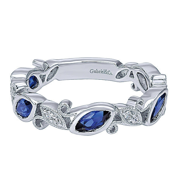 Diamond and Blue Sapphire Band by Gabriel & Co.