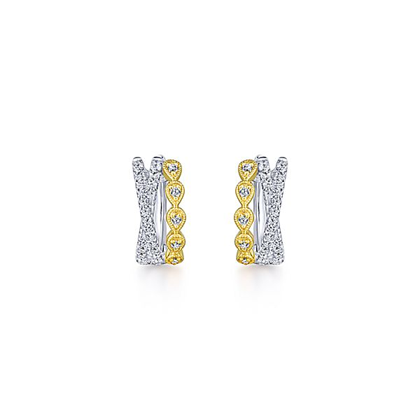 14k Two Tone Diamond Hoops by Gabriel & Co