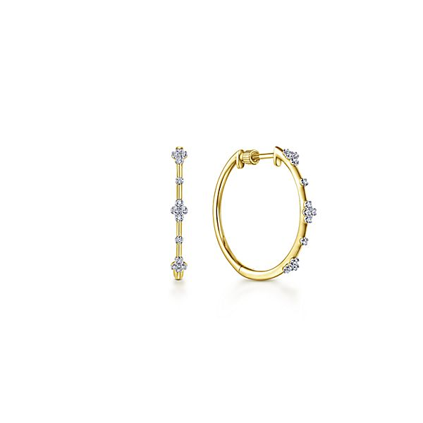 Creatively Accented Diamond Hoops by Gabriel & Co