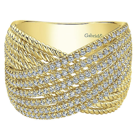 Layered Diamond Woven Band by Gabriel & Co