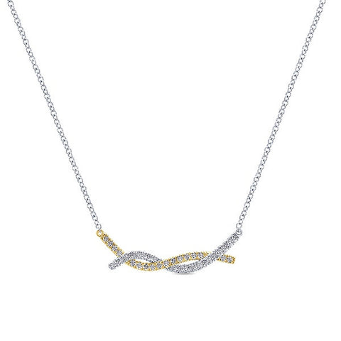 14k White and Yellow Gold Twist Necklace by Gabriel & Co
