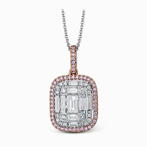Fancy Pink and Baguette Diamond Pendant by Simon G.