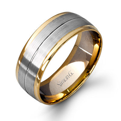 Men's Wide Two-Tone Wedding Band by Simon G.