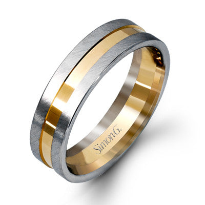 14k White and Yellow Gold Grooved Men's Band by Simon G.