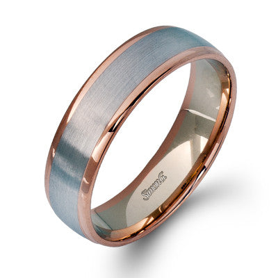 Two-tone 14k White and Rose Gold Men's Band by Simon G.