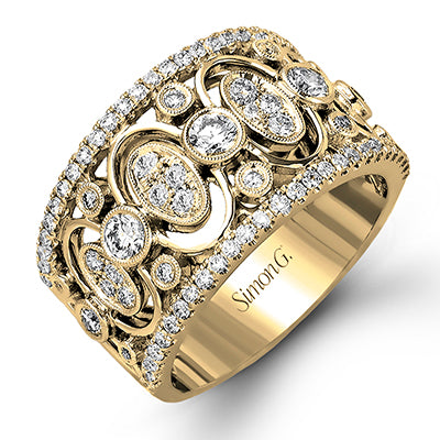 Sophisticated Right Hand Ring with Bezel Set Diamonds by Simon G.