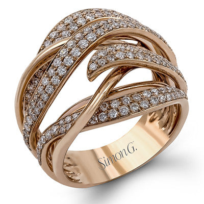 "Gorgeous Layered Diamond ""Flame"" Ring in Rose Gold from Simon G."