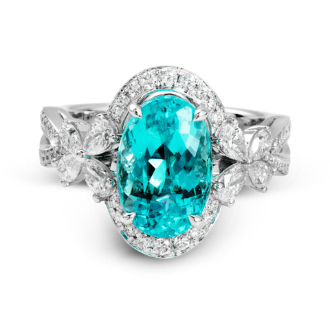 Paraiba Tourmaline and Diamond Ring by Simon G