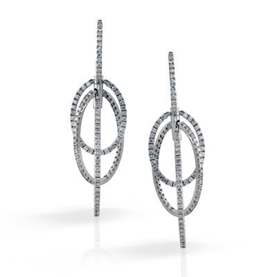 Magnificent Oval Pave Dangle Diamond Earrings by Simon G.