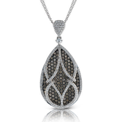 Teardrop Pendant with Cognac and White Pave Set Diamonds by Simon G.