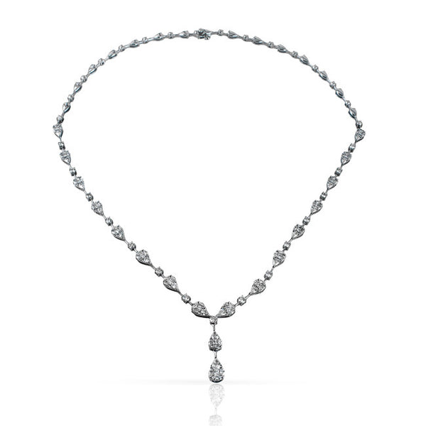 6.0 Carat Fancy Shape Diamond Drop Necklace in 18k White Gold by Simon G.