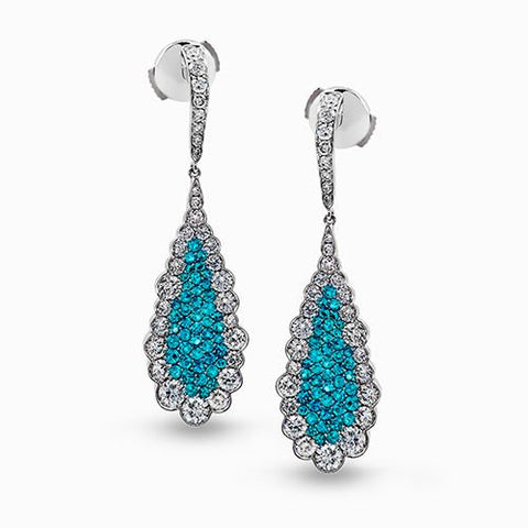 Paraiba Tourmaline and Diamond Earrings by Simon G