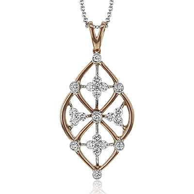 White and Rose Gold Diamond Pendant by Simon G