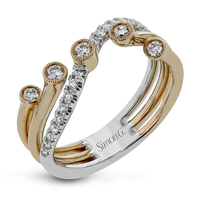 Contemporary Flair Diamond Ring in Contrasting Metals by Simon G