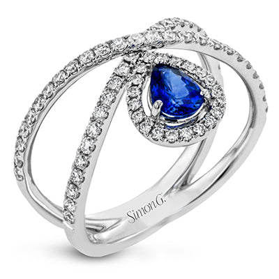 Contemporary Sapphire Diamond Ring by Simon G