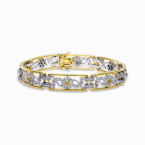 Flower Bracelet in 18k Yellow and White Gold by Simon G.