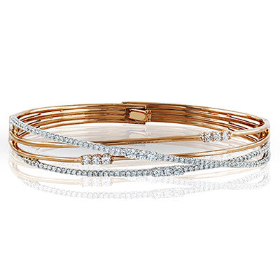 Layered Diamond Bracelet in Rose Gold by Simon G